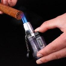 Trzy dysze ogień latarka Turbo zapalniczka pistolet Jet butan rura zapalniczka gazowa papieros 1300 C ogień zapalniczka wiatroodporna