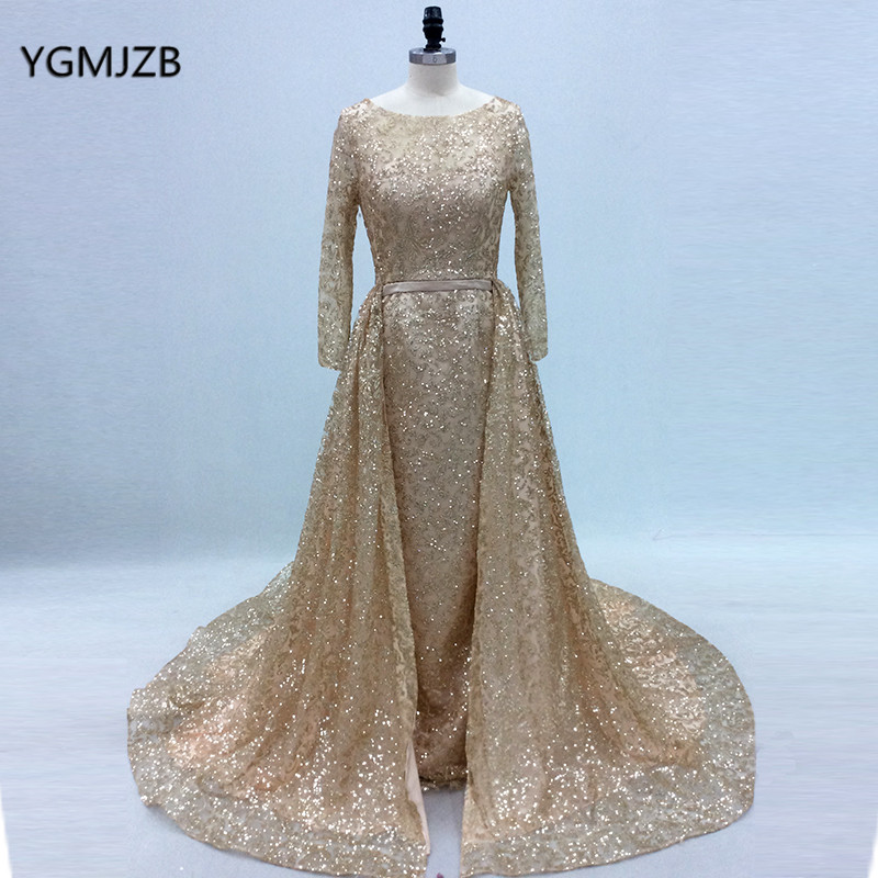 Gold Long Evening Dress 2018 Glitter Sequins Long Sleeves with Train Arabic  Women Formal Party Gown Prom Dress Robe De Soiree 811bf38a2e30