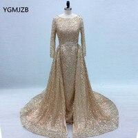 Sparkly Glitter Sequin Evening Dress 2019 Long Sleeves Gold Arabic Dubai Formal Evening Gown Prom Dress Robe De Soiree