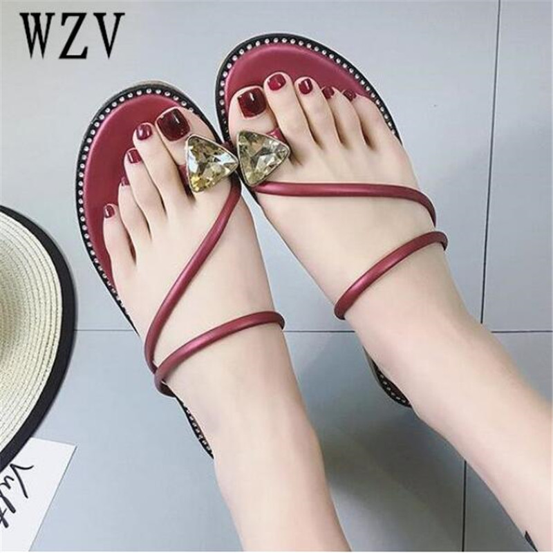 Women Sandals Flip Flops 2018 New Summer Fashion Rhinestone Wedges Shoes Woman Slides Crystal Beautiful Lady Casual Shoes Female women sandals 2017 summer shoes woman wedges fashion gladiator platform female slides ladies casual shoes flat comfortable