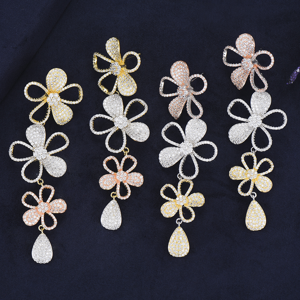 Romantic Sweet Cute Flowers Pendant Earrings Luxury Noble Symble for Women Bridal Wedding Engagement Jewelry Accessories
