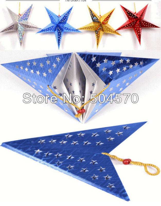 4pcs / Lot 30-60cm LED Star Handle Lanterns Lamp Laser Paper Glow - Varer til ferie og fester - Foto 4