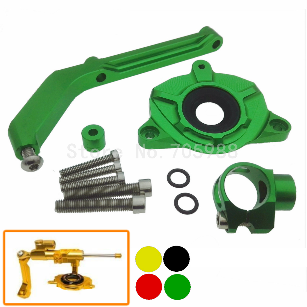 ФОТО Hot Motorcycle Green Color Steering Damper Mounting Bracket for Kawasaki Z1000/ABS 2014-2017 Black/Gold/Red