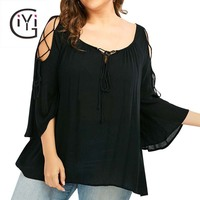 GIYI Plus Size 5XL Sexy Lace Up Loose Blouse Shirt Women Flare Sleeve Tops Vintage Cold Shoulder Top Summer 2017 Big Size Blusas