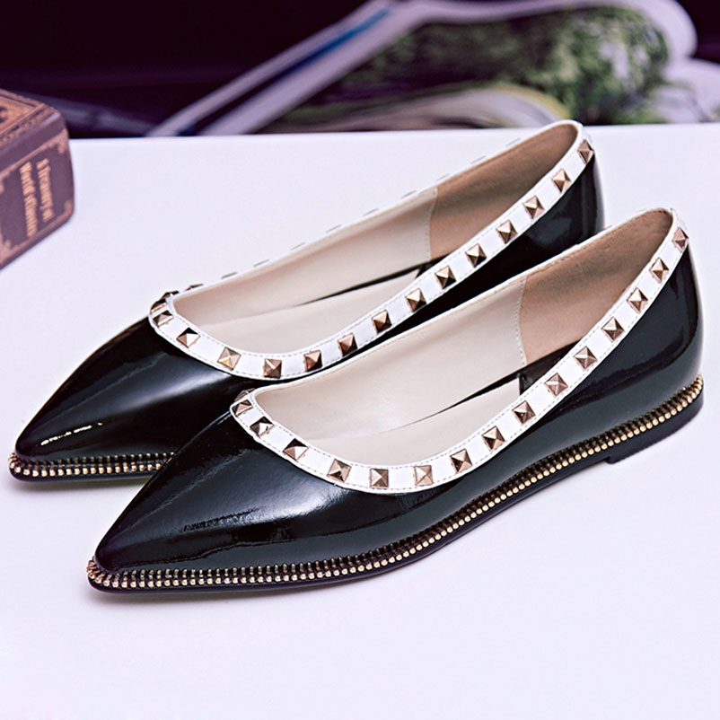 ФОТО 2016 Spring Women Ballet Famous Genuine Leather Ladies Shoes Elegant Woman brand Flat Shoes Sexy Pointed Toe Women Famous