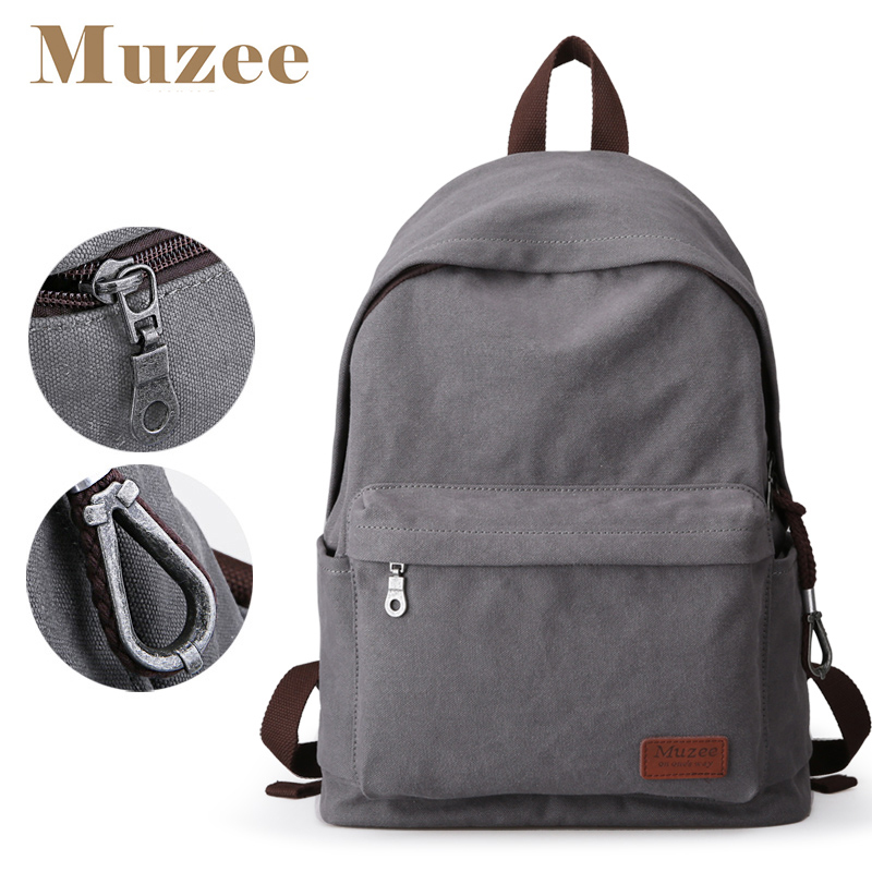 Muzee Canvas Backpack College Student School Backpack Bags Suit for 14 inch Computer and 1-3 Days Trip Backpack chic canvas leather british europe student shopping retro school book college laptop everyday travel daily middle size backpack