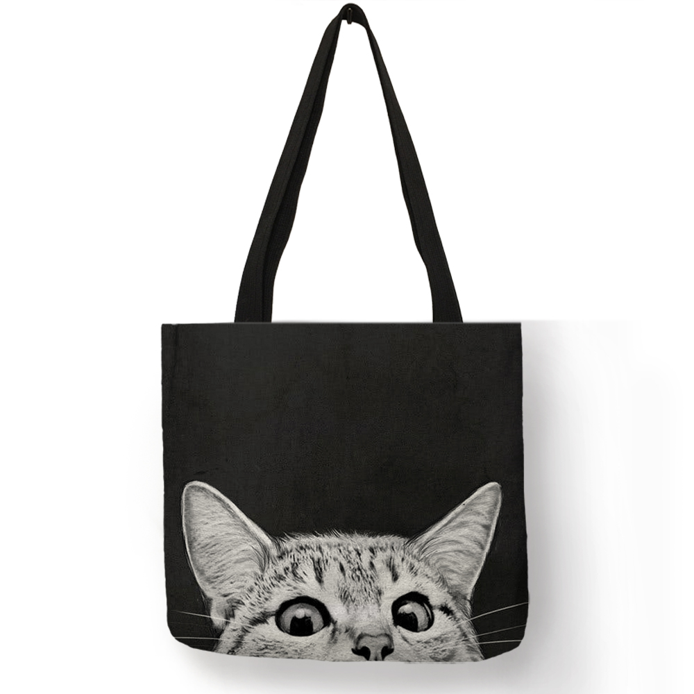 Fabric Traveling Shopping Bags Cute Kitty Cat Print Tote Bag for Women Personality School Shoulder Bags Dropshipping customize tote bag seahorse turtle octopus pattern traveling shoulder bags eco linen shopping bags for women with print