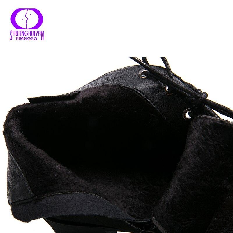Image 5 - AIMEIGAO nowa wiosna jesień kobiety botki zamszowe krótkie botki sznurowane buty damskie z futra buty 2018 nowościButy do kostki   -