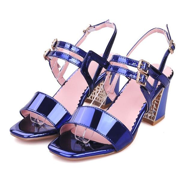 d12556f80ead Women 2018 Summer New Thick Heel Open The Toe Patent Leather Sandals  Fashion Big Size 42
