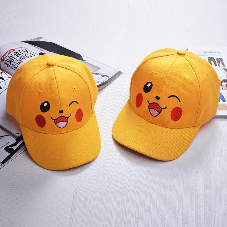 2016 new Pikachu baseball cap adult children Lovely Pikachu caps anime yellow cute hat anime cartoon pokemon pikachu elf funny hat for women men beanie cosplay costume cute lovely warm winter hat 75zaa512