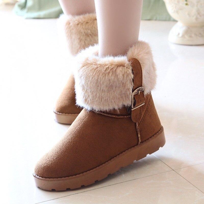 Autumn winter warm Plus velvet snow boots 2016 fashion women ankle shoes