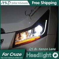 AKD Car Styling For Chevrolet Cruze Headlights 2009 2015 LED Headlight DRL Head Lamp Q5 Bi