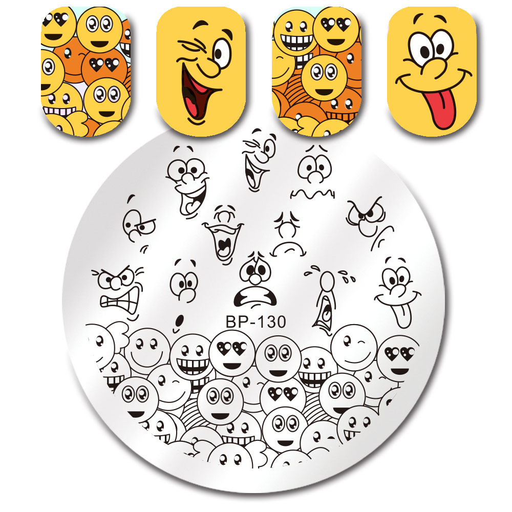 Image 2 - BORN PRETTY Emoji Facial Expression Round Nail Stamping Plate Nail Art Image Printing Plate Manicure Transfer Stencil BP 130-in Nail Art Templates from Beauty & Health