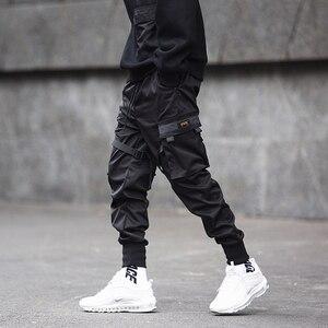 Image 4 - 男性リボン色ブロック黒ポケット貨物パンツ 2020 ハーレムジョギング原宿 Sweatpant ヒップホップズボン