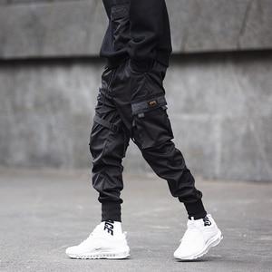Image 4 - Men Ribbons Color Block Black Pocket Cargo Pants 2020 Harem Joggers Harajuku Sweatpant Hip Hop Trousers