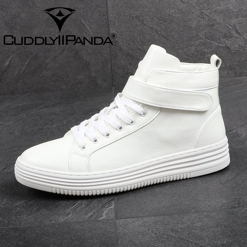 CUDDLYIIPANDA Men Spring Autumn Fashion Boots High Quality Men Comfort Work Flat Casual Walking Shoes Hook&Loop Men White Boots 2017 spring autumn breathable white wild men casual shoes 100% handmade pigskin leather comfort men shoes high quality size40 44