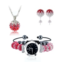 Gradient Crystal Disco Ball Beads Set Fashion Shamballa Set Watch Bracelet Necklace Earrings Sets Mix Colors
