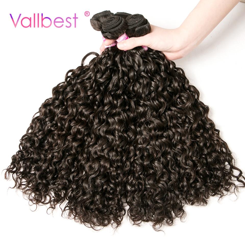 Peruvian Water Wave Bundles Human Hair Weave Extension Peruvian Hair Bundles 100g/Piece Natural Black Vallbest Non-Remy Hair
