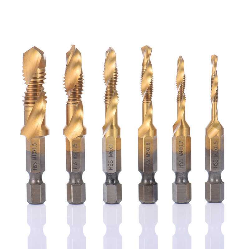 Titanium Hand Tap Boren Hex Schacht Hss Schroef Spiraal Punt Draad Metrische Plug M2 M3 M4 M5 M6 M8 M10 Fit Metalen Staal 6pcs