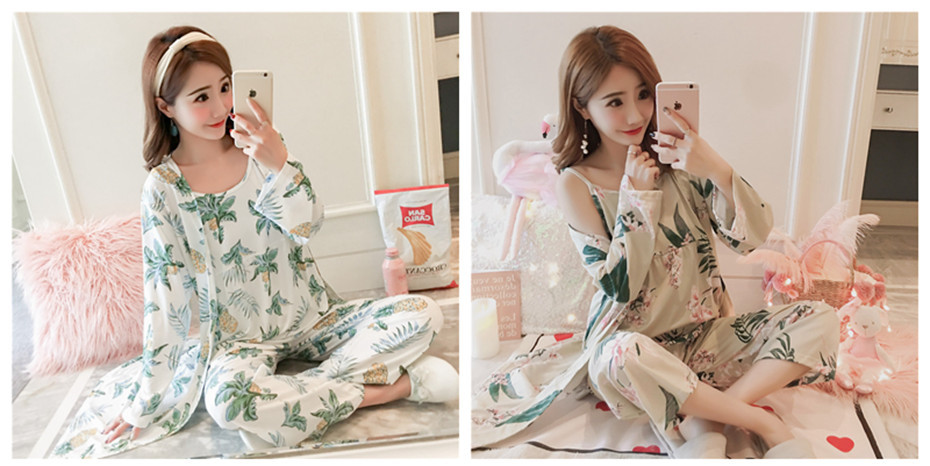 HTB1SXa2aAxz61VjSZFrq6xeLFXaT - JULY'S SONG Woman Pajamas Set Sling Cotton Pajamas 3 Peices Sleepwear For Women Long Sleeves Breathable Sexy Robe Homewear
