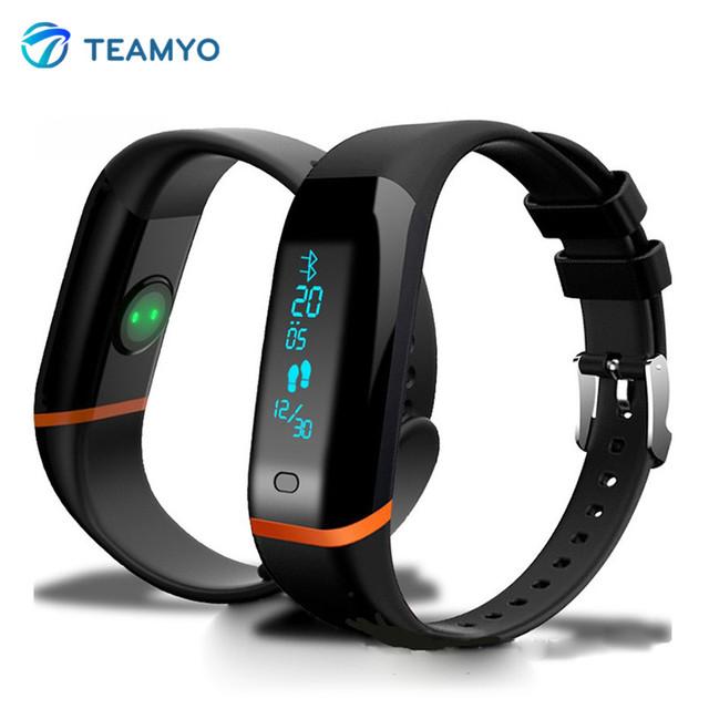 TEAMYO X12 Bluetooth Alarme Rastreador Pedômetro Inteligente Pulseira Pulseira Heart Rate Monitor de Fitness Esporte Smartband Para IOS Android