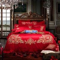2018 Новая модель 10 шт. King Размеры Свадебные украшения постельные наборы для вышивания пододеяльник комплекты красный набор кровать для дево