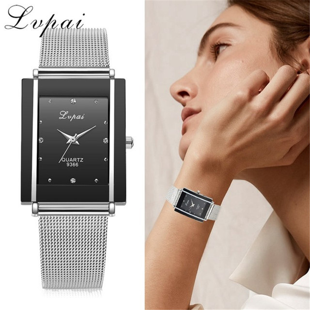 Brand Silver Ladies Wristwatch Watch Luxury Rectangle Casual Watches Women Dress