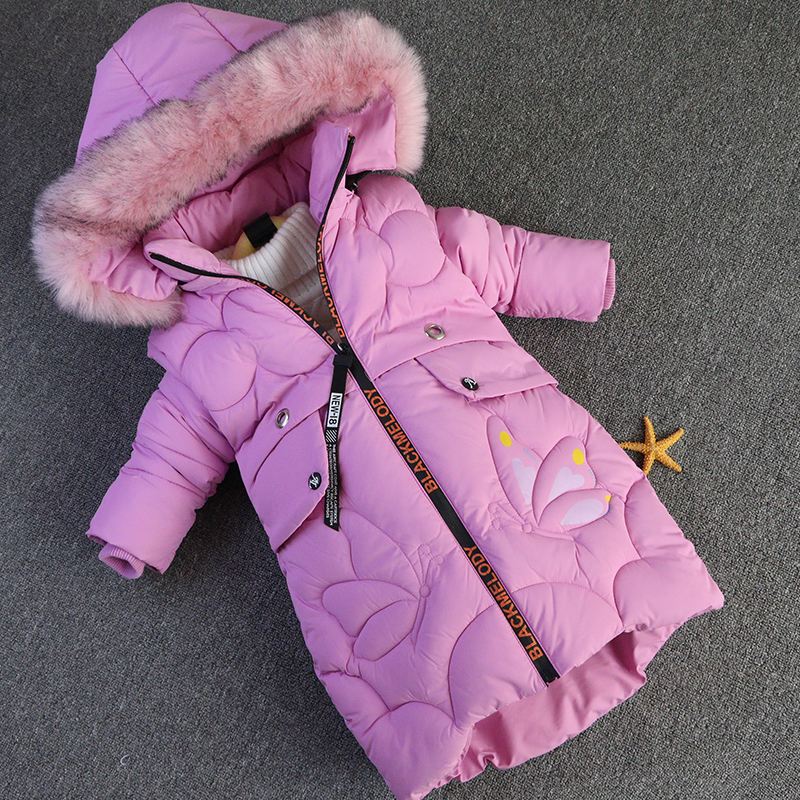 все цены на 2018 Winter Children's Clothing Kids Down Cotton Outerwear Girls Wadded Jacket Child medium-long Thickening Cotton-padded Coat