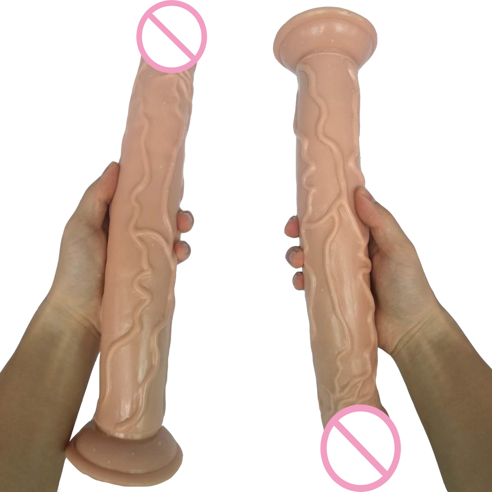 HOWOSEX 35*5CM Super Long Dildo Big Realistic Dildos with Suction Cup Soft Thick Penis anal butt Adult games sex toy For Women howosex 42 5cm huge translucent dildos long soft dildo penis dick dong with suction cups anal adult game woman sex toys
