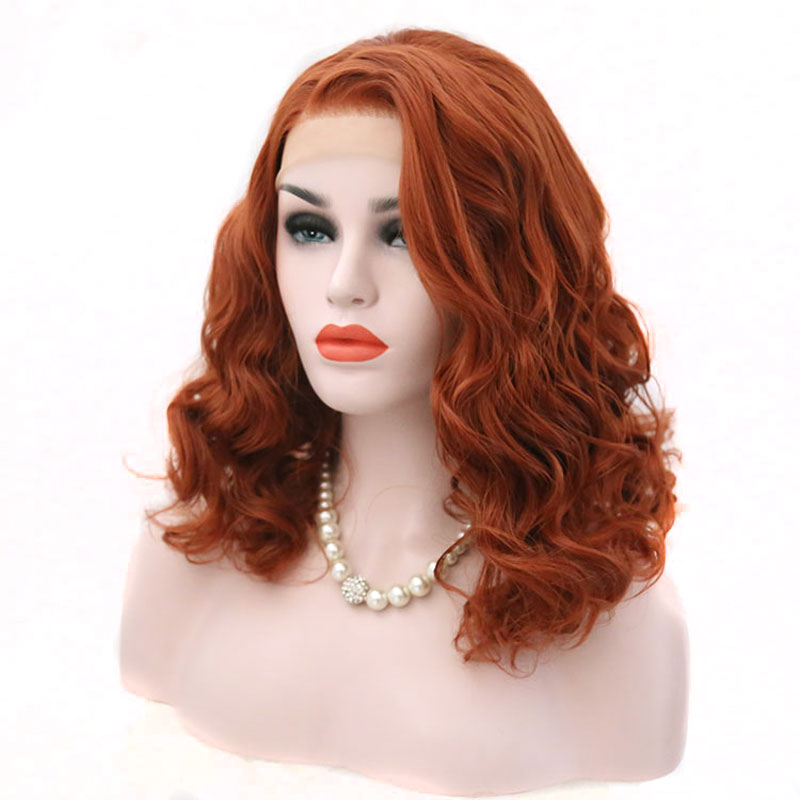 Bombshell Orange Red Short Loose Wave Synthetic Lace Front Wig Glueless Heat Resistant Fiber Hair Side