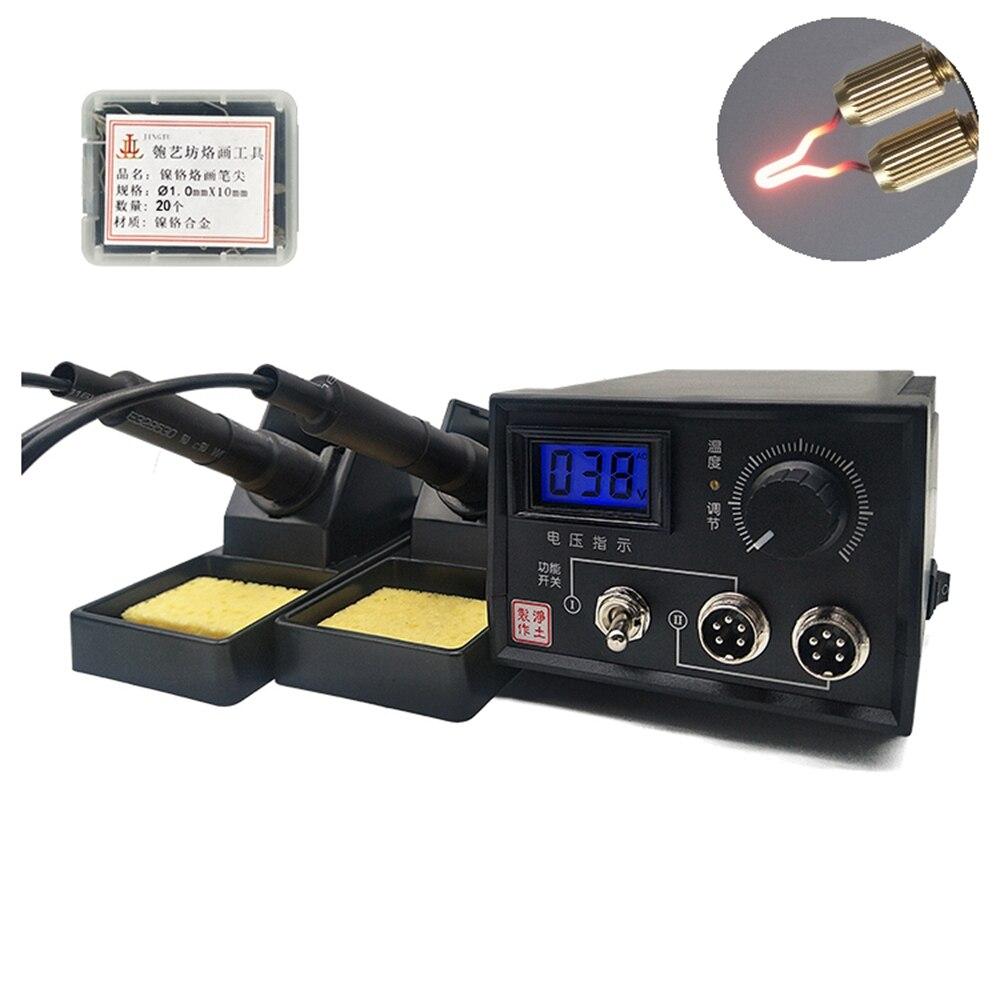 60W Adjustable Wood Burning Kits Pyrography Machine Electric Iron Digital Display Pyrography Set +20pcs Blade Pyrography Machine