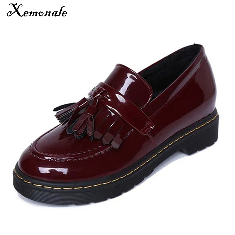 New Patent Leather Oxfords Shoes 2016 Spring Vintage Tassel Platform Brogue Shoes Woman British Style Slip On Flats DWD2594 universal motorcycle m8 1 25 cnc aluminum clutch cable wire adjuster for ktm 350 400xcf w honda kawasaki ninja 300 abs er 6f