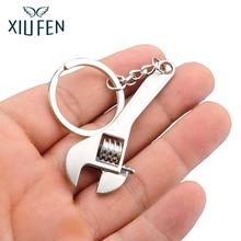 ФОТО xiufen hot sale new useful zinc alloy spanner keychain fashion wrench silver key ring chain creative keyfob tools