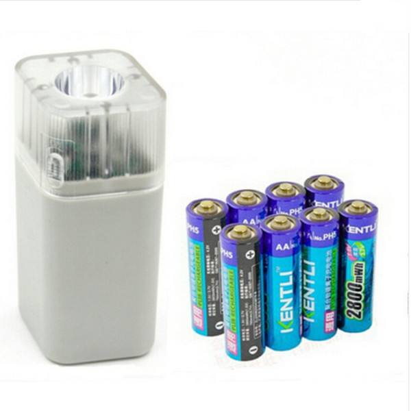 ФОТО 8pcs KENTLI 1.5v 2800mWh Li-polymer li-ion lithium rechargeable AA battery batterie + 4 slots Charger w/ LED flashlight