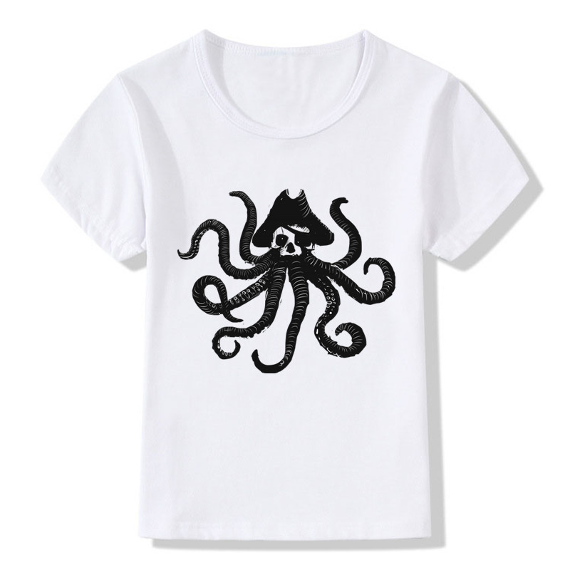 Children Pirate Octopus Print Funny T Shirt Kids Summer Tops Girls Boys Short Sleeve T-shirt Casual Baby Clothes,ooo151