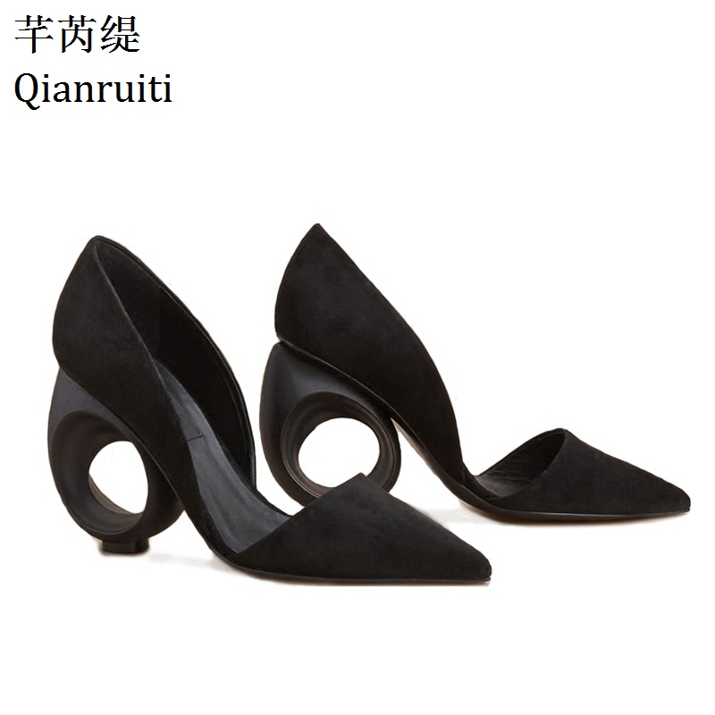 Qianruiti Summer Black Faux Suede High Heels Shoes Strange Style Fretwork Heels Women Party Shoes Sexy Pointed Toe Women Pumps qianruiti pink red yellow faux suede high heels women shoes sexy pointed toe bridal wedding shoes 12cm thin heels women pumps