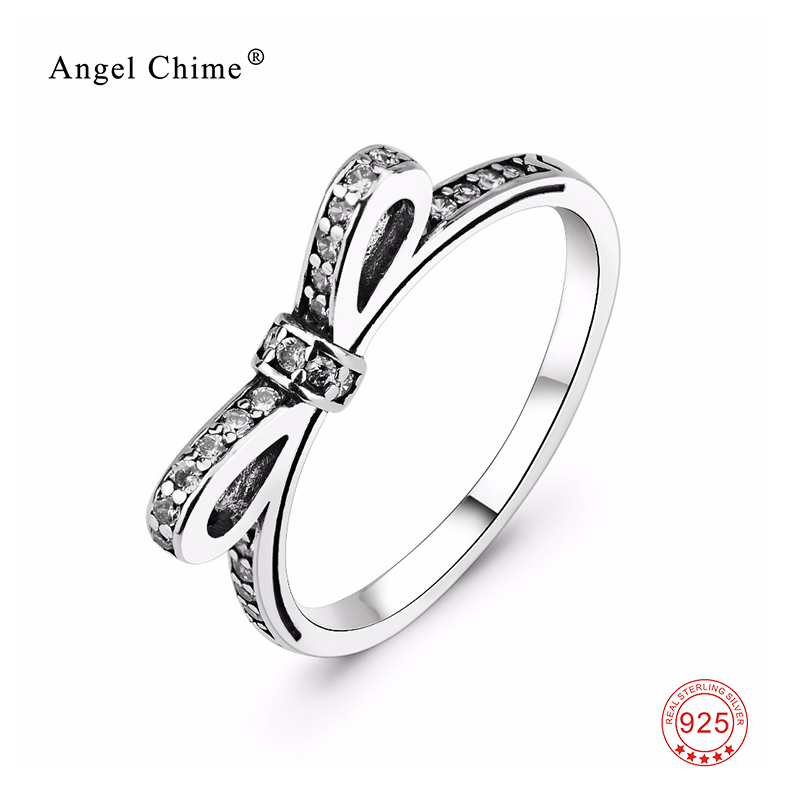 Antique Geometric Bowknot Stackable Band Ring 925 Sterling Silver Wedding Engagement Rings Women Fashion Jewelry bague femme