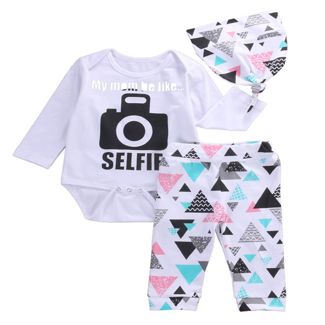 3 Pcs Newborn Baby Boy Girl Selfie Camera Clothing Set Infant Babies  Bodysuit Onesie+Hat+Triangle Blocks Long Pants+Hat 3pcs Set a46d9b5e544