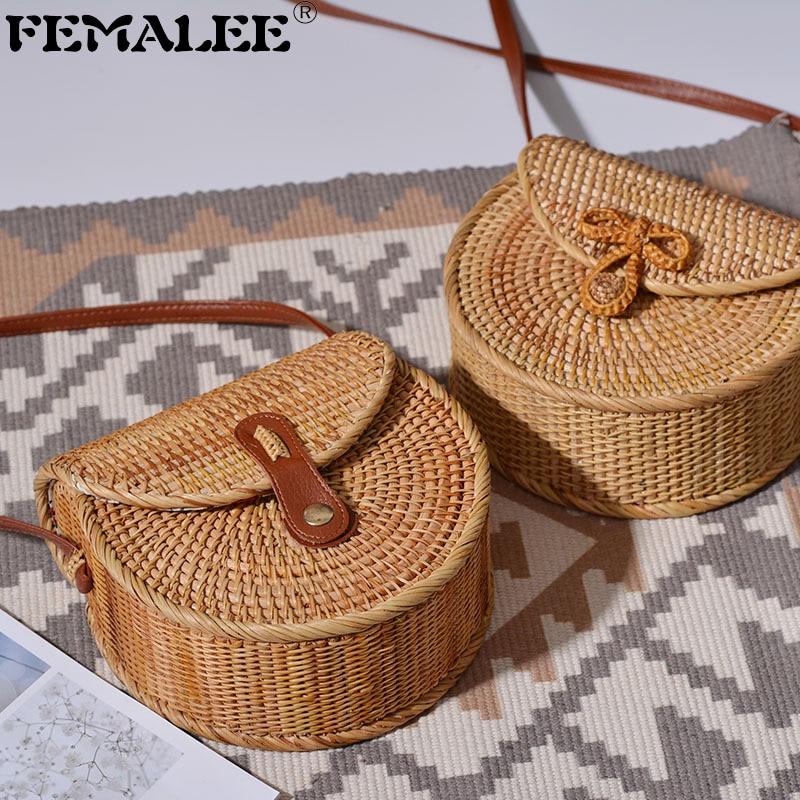 FEMALEE New Bohemian Rattan Bags For Women Beach Messengers Summer Vintage Saddle Bag Handmade Weaving Crossbody Bag