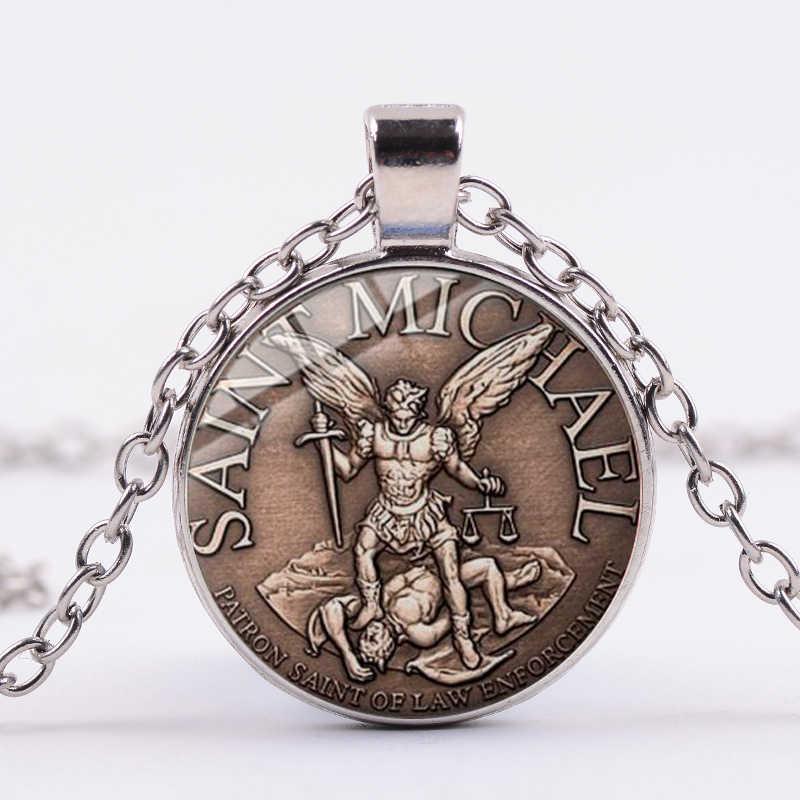 SONGDA 法執行大天使 St 。マイケルネックレス私聖保護シールド保護 Orhodox ガラス宝石 Amult ペンダントジュエリー