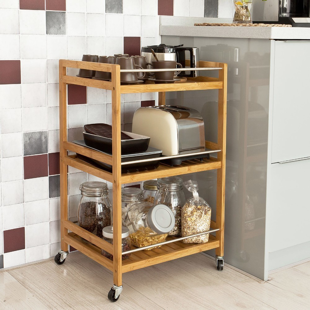 SoBuy FKW11-N Kitchen Serving Trolley Cart Cupboard with Casters Bathroom Storag