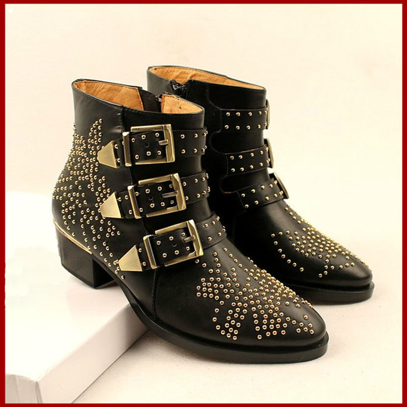 2016 Ankle Boots for Women Rivets Studded Pointed Toe Women Shoes Side Zipper Buckle Chunky Heel Motorcycle Boots Zapatos Mujer все цены