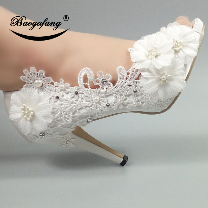 BaoYaFang Big Flower White Wedding shoes Bride Peep Toe fashion shoes for woman New Ladies Party