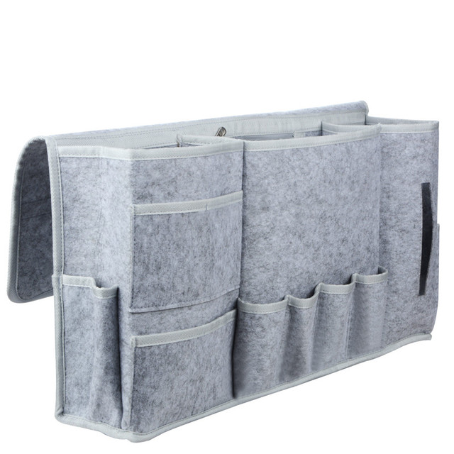 Bedside Storage Caddy/Bed Tidy Pocket 8 Pocket Organizer/ Grey Felt ...