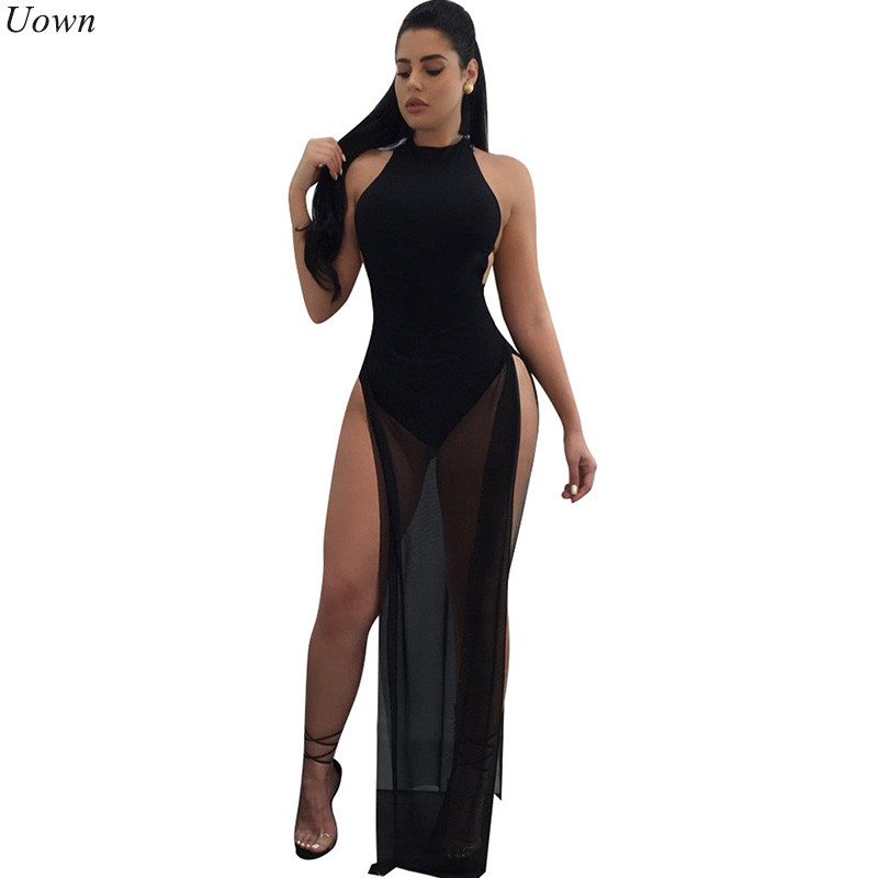 Doyerl Backless Long Black Mesh Kleid Frauen Sexy Sleeveless Oansatz Hohe Split Sheer Maxi Kleider Party Clubwear Outfits Vestidos