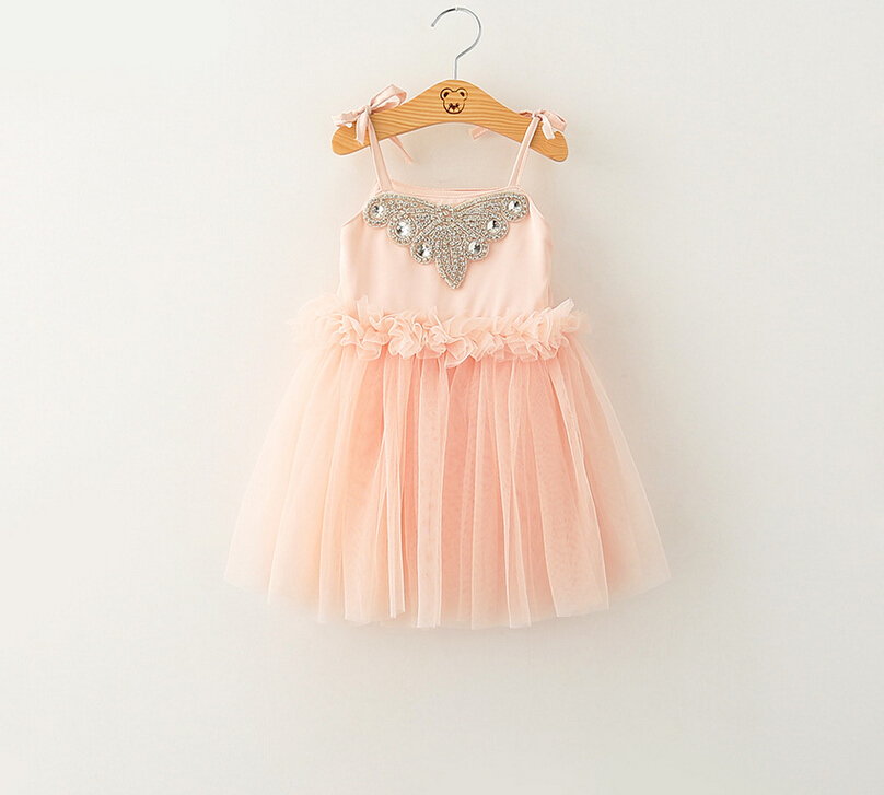 New Arrival Kids Baby Fairy Sling Mesh Tulle Dresses Summer Princess Girls Clothing Pink Party Dresses