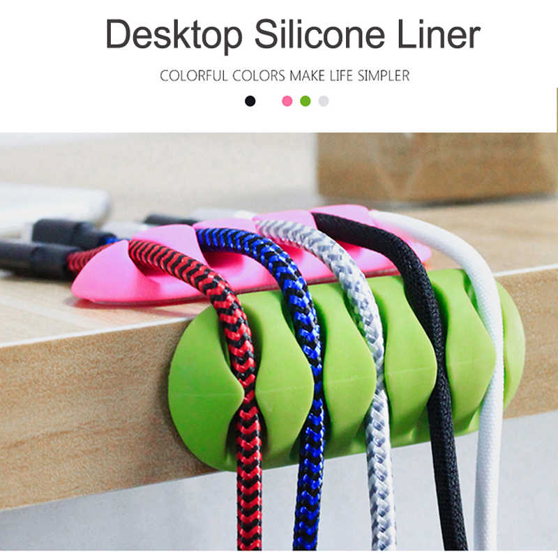 Silicone USB Cable Winder Flexible Cable Organizer Management Clips Cable Holder For Mouse Headphone Earphone