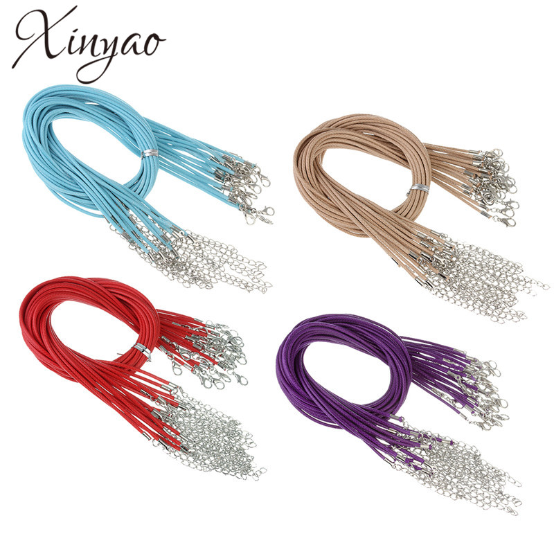 XINYAO 20pcs/lot Lobster Clasps Leather Rope Necklace Dia 1.5mm Korean Cotton Waxed Cord Thread Necklaces Fashion Jewelry F1376