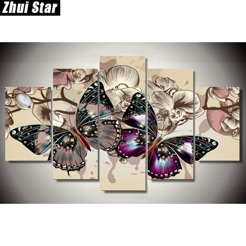 Zhui Star 5D DIY Full Square Diamond Painting butterfly Multi-picture Combination Embroidery Cross Stitch Mosaic Decor giftZhui Star 5D DIY Full Square Diamond Painting butterfly Multi-picture Combination Embroidery Cross Stitch Mosaic Decor gift