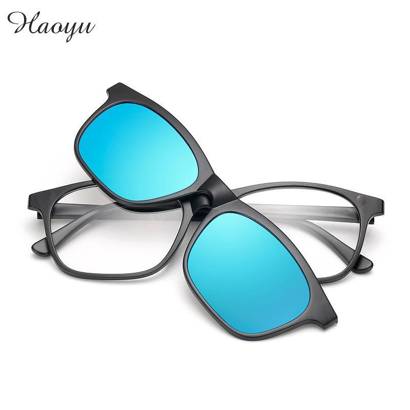 Haoyu Plastic Titanium Retro glasses frames Polarized Sunglasses Tac Myopia Clip Fashionable Color Film Sun glasses